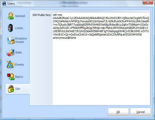User SSH Public Key Configuration