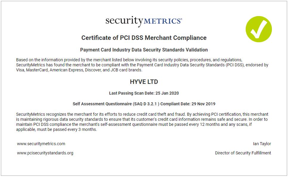 PCI Certificate Hyve Oct 2019