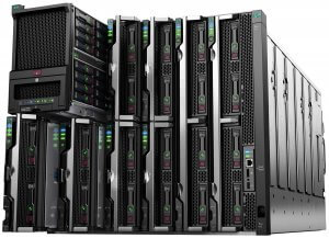 Two rows of black gen-10 private cloud servers