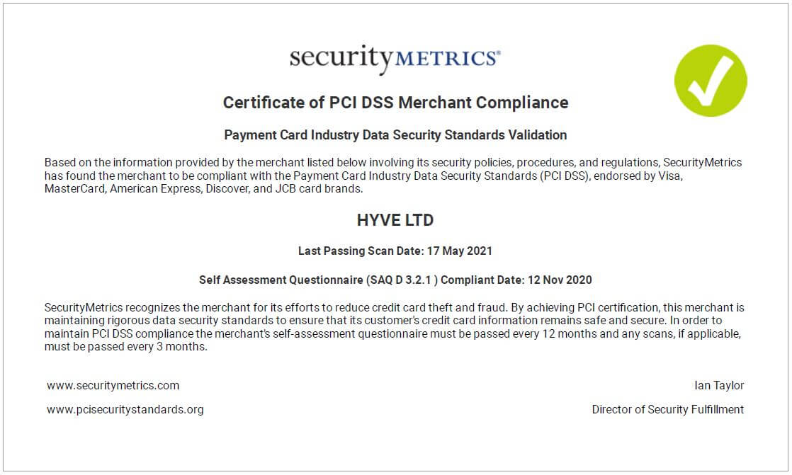 PCI DSS Certificate 2020